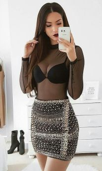50 How to Wear Black Mesh Tops in Style Ideas 39