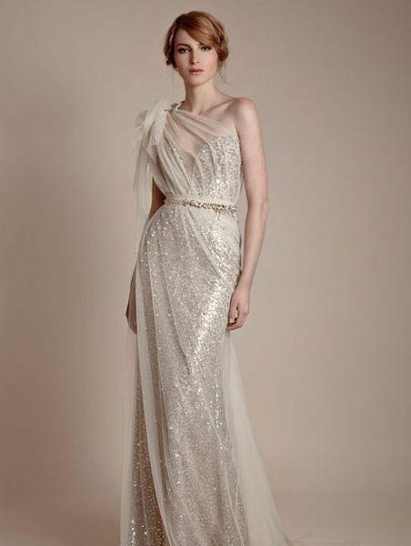 50 One Shoulder Bridal Dresses Ideas 13
