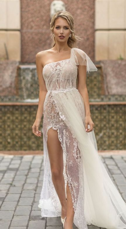 50 One Shoulder Bridal Dresses Ideas 17