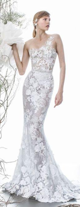 50 One Shoulder Bridal Dresses Ideas 21