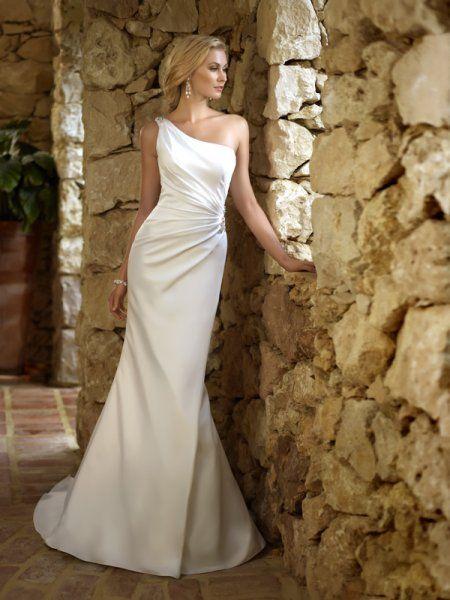 50 One Shoulder Bridal Dresses Ideas 22