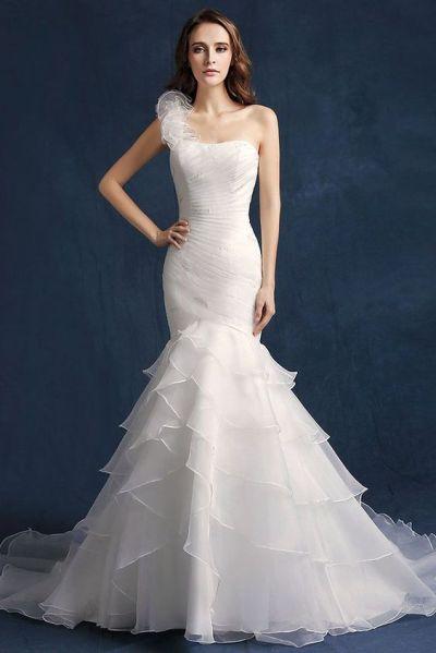 50 One Shoulder Bridal Dresses Ideas 33