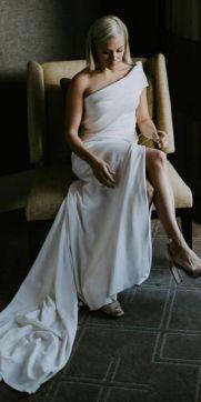 50 One Shoulder Bridal Dresses Ideas 36