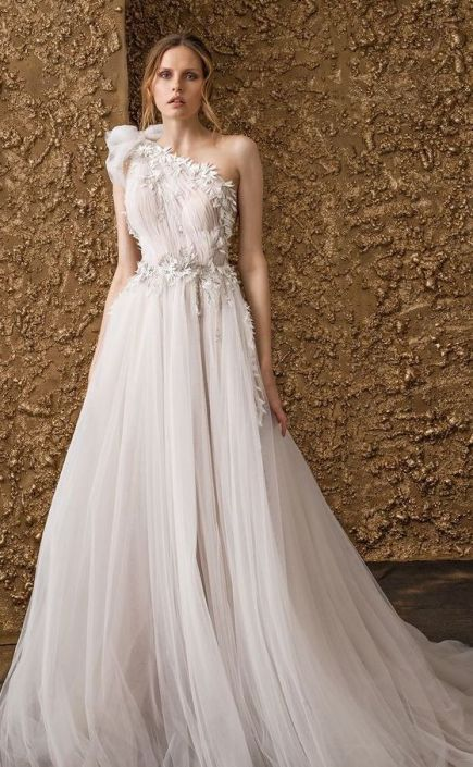 50 One Shoulder Bridal Dresses Ideas 37