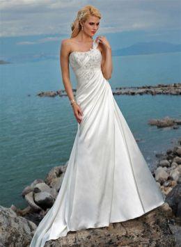 50 One Shoulder Bridal Dresses Ideas 38