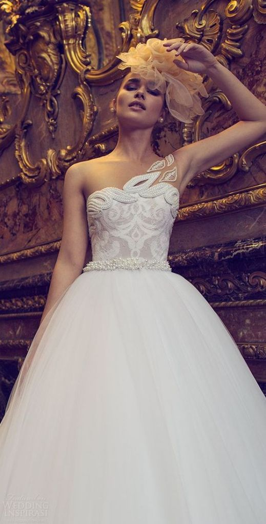 50 One Shoulder Bridal Dresses Ideas 41