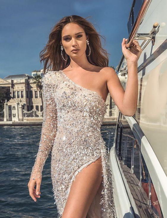 50 One Shoulder Bridal Dresses Ideas 45