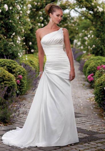 50 One Shoulder Bridal Dresses Ideas 47