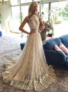 50 Simple Glam Victorian Neck Style Bridal Dresses Ideas 34