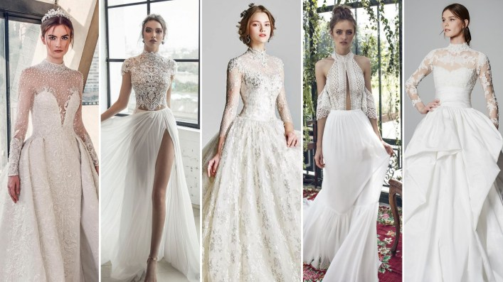 50 Simple Glam Victorian Neck Style Bridal Dresses Ideas