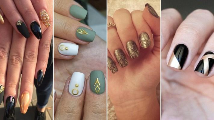 50 Glam Gold Girly Nail Art Looks Ideas