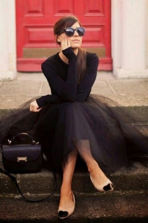 40 Simple Glam Black Tulle Skirt Outfits Ideas 13