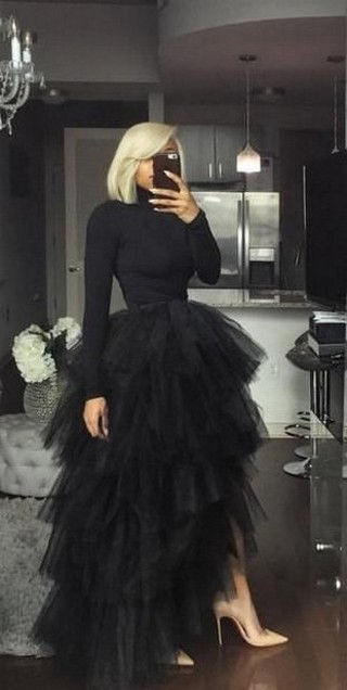 40 Simple Glam Black Tulle Skirt Outfits Ideas 25