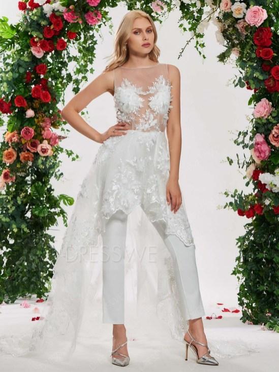 80 Simple and Glam Jumpsuit Wedding Dresses Ideas 28