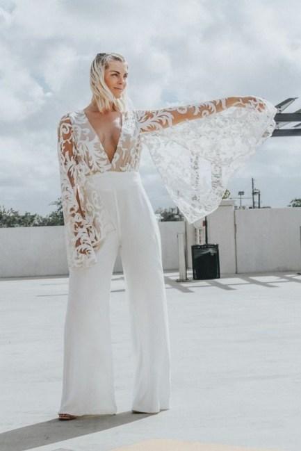 80 Simple and Glam Jumpsuit Wedding Dresses Ideas 31