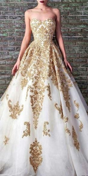 60 Gold Glam Wedding Dresses Inspiration 45