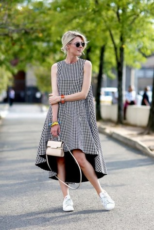 80 Stylish and Comfy Dress and Sneakers Outfit Look 19