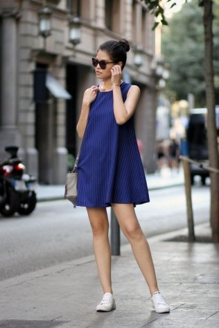 80 Stylish and Comfy Dress and Sneakers Outfit Look 20