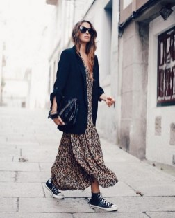 80 Stylish and Comfy Dress and Sneakers Outfit Look 29