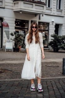 80 Stylish and Comfy Dress and Sneakers Outfit Look 30