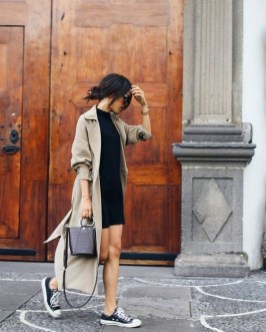 80 Stylish and Comfy Dress and Sneakers Outfit Look 35