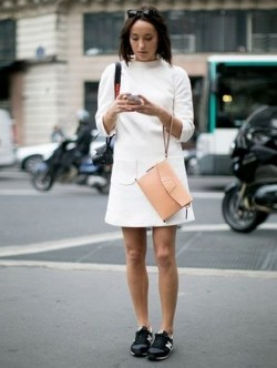 80 Stylish and Comfy Dress and Sneakers Outfit Look 36