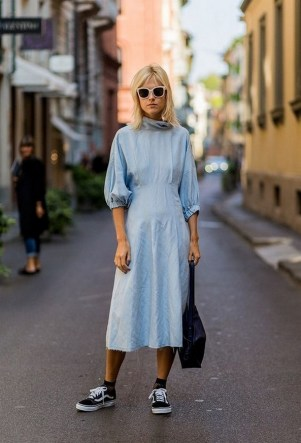 80 Stylish and Comfy Dress and Sneakers Outfit Look 46