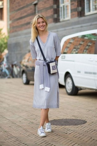 80 Stylish and Comfy Dress and Sneakers Outfit Look 70