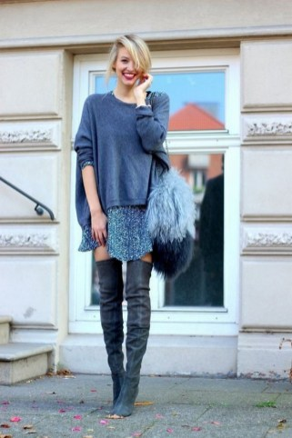 80 Thigh High Boots Outfit Street Style Ideas 20