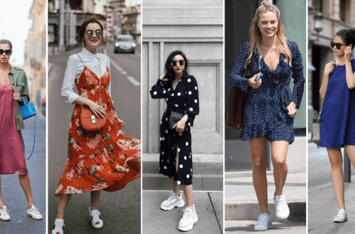 Dress and Sneakers Outfit Street Style Ideas