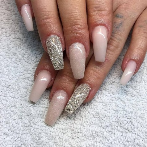 50 Acrylic Nails Ideas with Glitter Which You Love 20