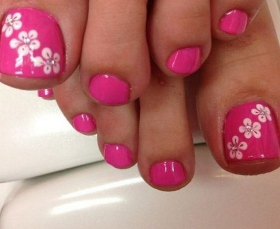 50 Ideas lovely Pink Toe Nail Art for Valentines Day 14