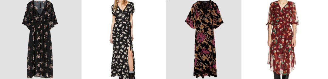 fall fashion, fall style, shopping guide, fall trends, fall florals, floral, midi dress, 90s