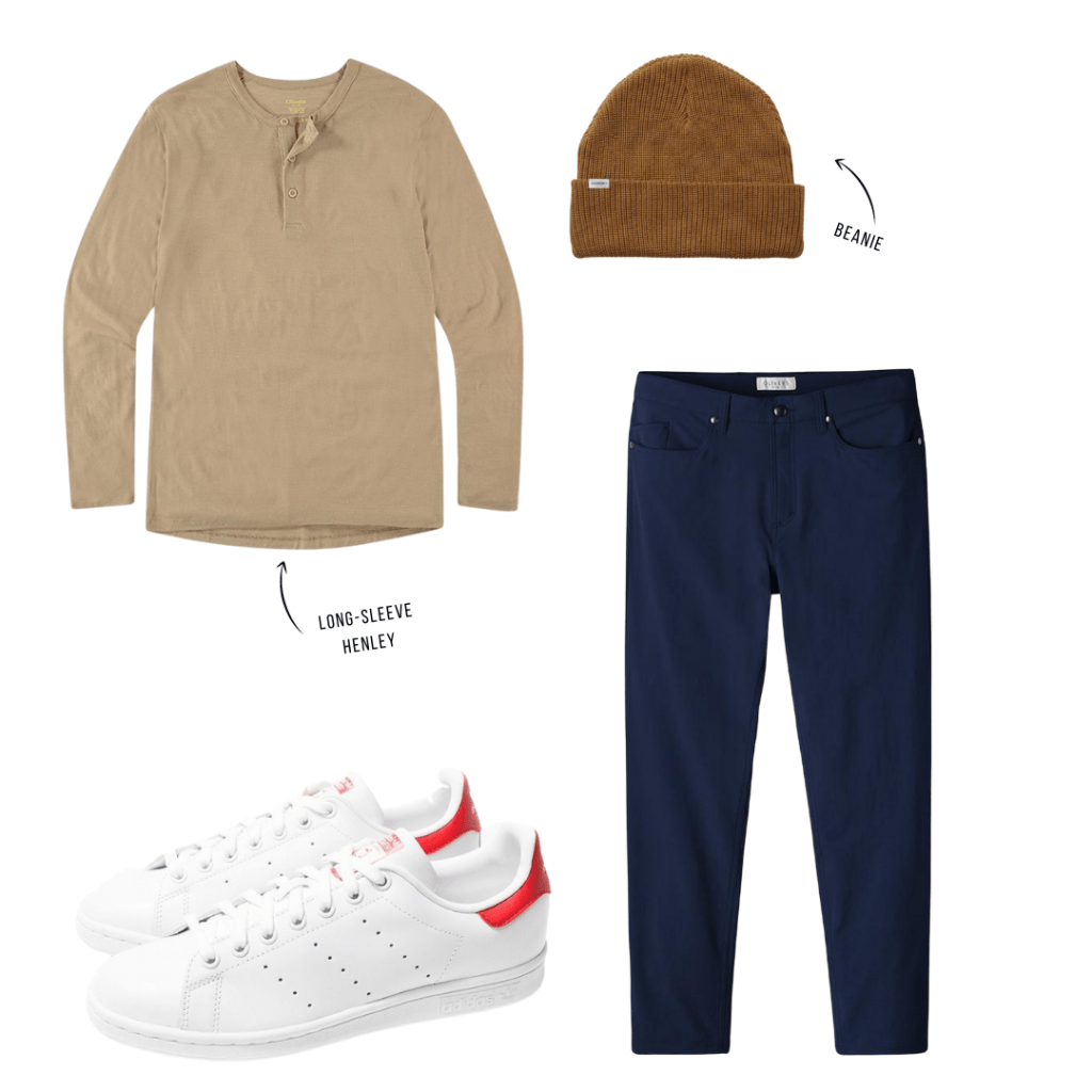 Olivers Passage Pants outfit with henley
