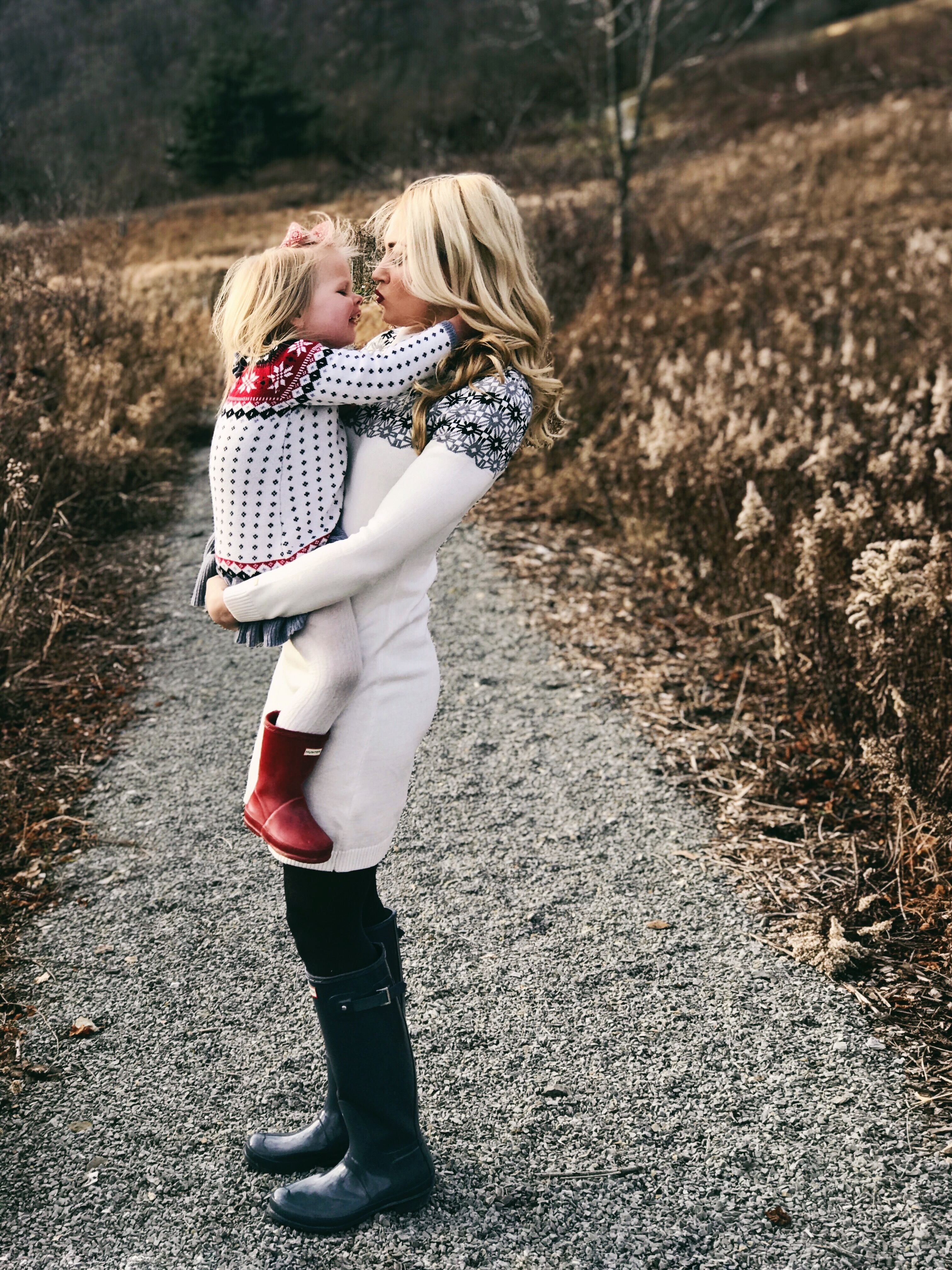 Mommy and Me | Fair Isle Sweaters and Hunter Boots