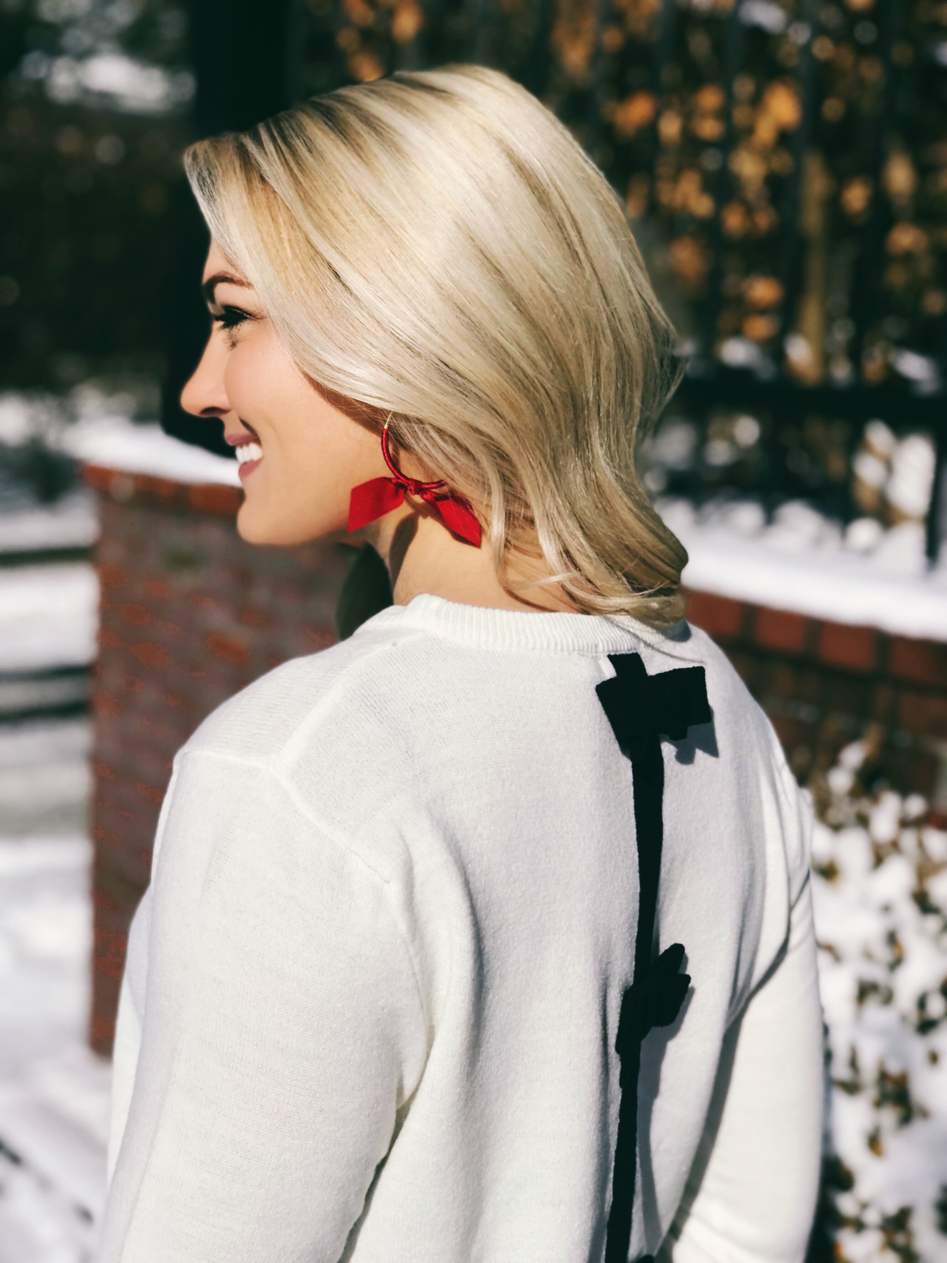 Bow Back Sweater | Bow Earrings | #preppy #classicstyle #fashionblogger