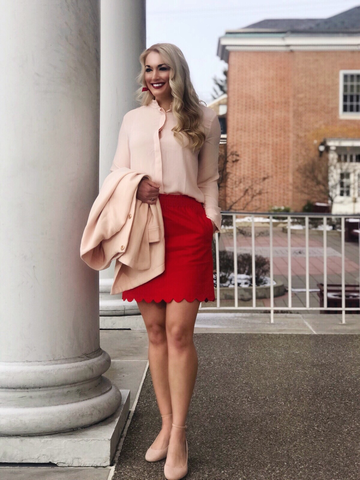 Scallop Hem Skirt | Blush Pink Blouse | Workwear | #workwear #classicstyle #preppy #fashion #style
