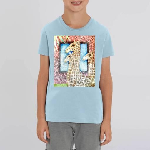 Familie Giraffen Kinder T-shirt - 100 % Biologisch Katoen
