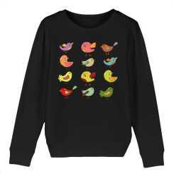 Cartoon Vogels Kinder Sweatshirt - 100 % Biologisch