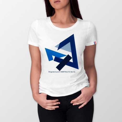 Hoeken In Blauw Dames T-shirt - 100% biologisch katoen