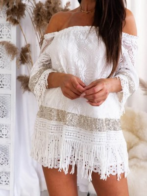 Off Shoulder Coachella Tunika Bluse