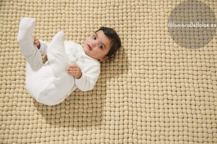 Alfombra-de-bolas-rectangular blanc fieltro puro fieltro suave bebe chica