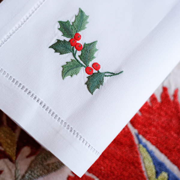 Embroidered napkins for christmas table