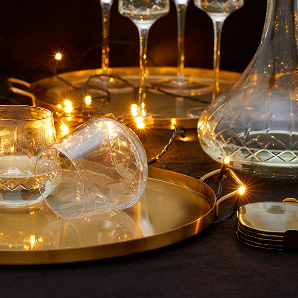 Carved glasses for christmas table