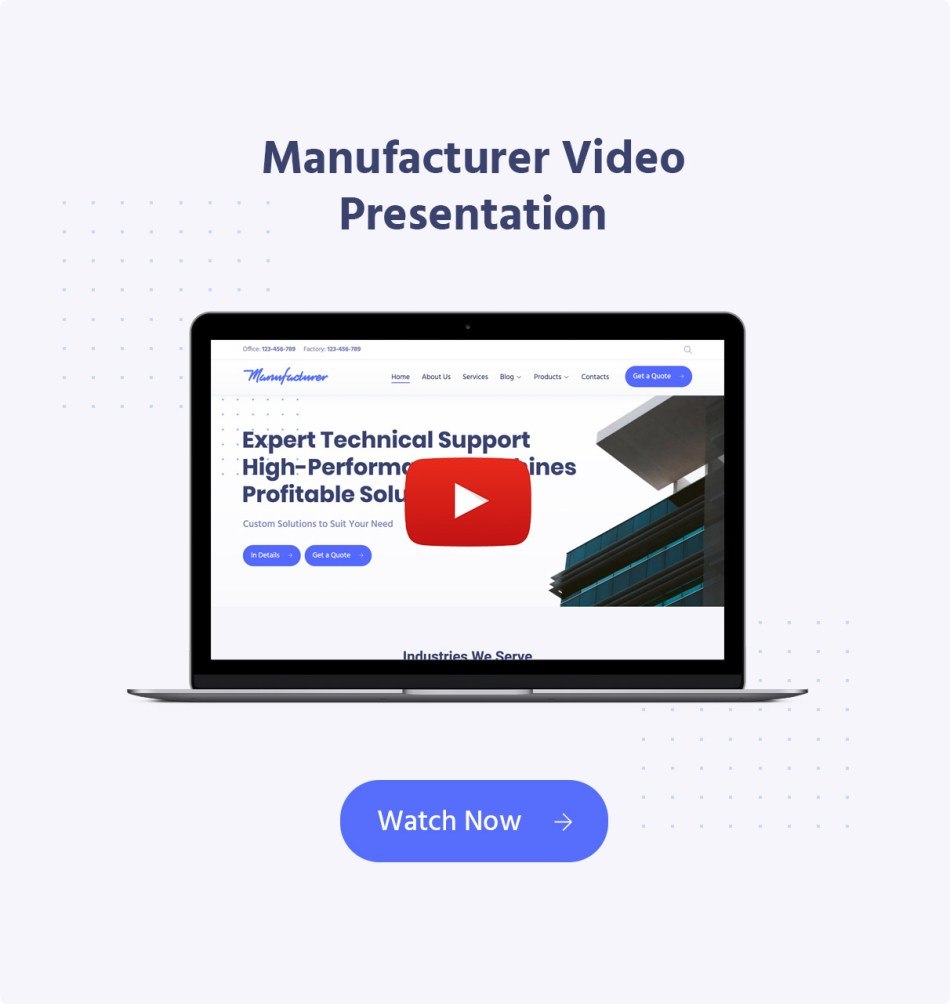 Wordpress theme of manufacturing