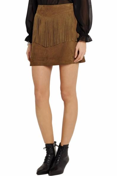 Saint Laurent Suede Fringe Mini Skirt