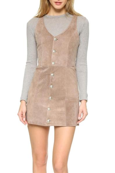 Capulet Front Button Suede Dress