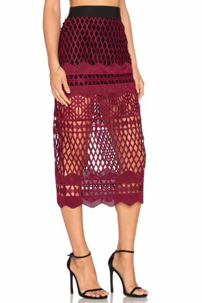 Self-Portrait Cutwork-Lace Pencil Skirt