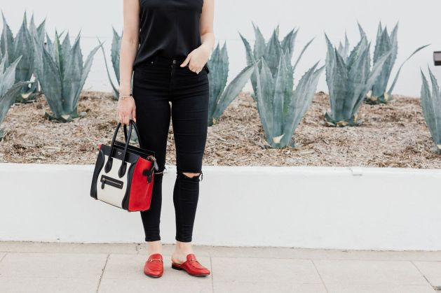 Blogger Style notes by belen wears topshop jamie jeans with celine luggage and red gucci shoes 7