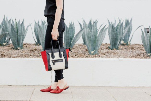 Blogger Style notes by belen wears topshop jamie jeans with celine luggage and red gucci shoes 2